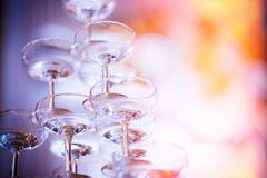 Place the empty champagne glasses. Stacked up to the celebration of the wedding Stock Photography