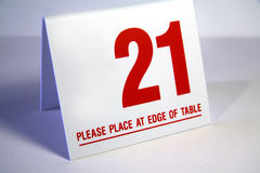 Place at end of table. Number 21 to place at the end of your table stock image