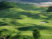 Place et coucher du soleil de golf images stock