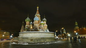 Place of execution, and St. Basil's Cathedral in the evening in winter stock video footage