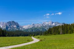 Fantastic mountain range. Place of the famous place Durmitor National Park, Balkans. The village of Zabljak, Montenegro, Europe. Place of the famous place stock photo