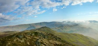 On Place fell looking east, panoramic Royalty Free Stock Photos