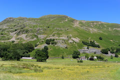 Place Fell, Side Farm, yellow field, Patterdale. View across the valley floor near Patterdale in the English Lake District, Cumbria, looking across a field of Royalty Free Stock Images