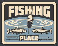 Place for fishing fishery poster bobber and fish Stock Image
