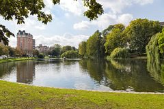 Place Flagey, view of Etang dIxelles - Bruxelles. (Belgium royalty free stock photography