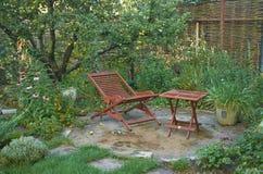 Place in a garden. stock photos