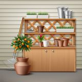 Place for gardening tools. Vector illustration of place with cupboard and shelf for tools gardening. Isolated, front view Royalty Free Stock Photography
