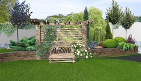 Place for get togethers in the garden, 3d rendering Stock Photos