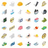Place icons set, isometric style. Place icons set. Isometric style of 36 place vector icons for web isolated on white background Stock Image