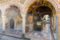 Place for installation of candles in the Troyan Monastery, Bulgaria Stock Photo