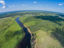 Place the 'Island' (guardians). Here a halt for kayakers. The River Mologa. Shooting from height of the bird's flight. Maksatikhinsky District, Tver Region Stock Photo
