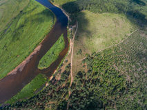 Place the Island (guardians). Here a halt for kayakers. The River Mologa. Shooting from height of the bird's flight. Maksatikhinsky District, Tver Region Royalty Free Stock Photo