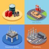 Place isométrique de l'industrie pétrolière 4 Icos