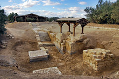 Place of Jeasus baptized in river Jordan. royalty free stock image