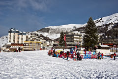Place for kids in Gourette winter sport resort. Gourette, France – January 17, 2016. Place for kids in Gourette winter sport resort in Bearn Pyrenees Stock Photography
