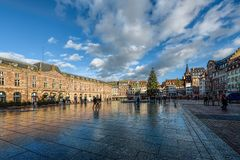 The Place Kleber is the central square of Strasbourg Stock Photography