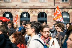 Place kleber political march during a French Nationwide day agai. STRASBOURG, FRANCE - SEPT 12, 2017: Demonstrators gathering at political march during a French Stock Photography
