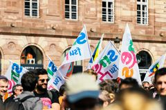 Place kleber political march during a French Nationwide day agai. STRASBOURG, FRANCE - SEPT 12, 2017: Demonstrators gathering at political march during a French Stock Photos