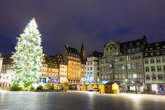 Place Kleber, Strasbourg. Strasbourg; France-December 13, 2015:The Christmas tree on place Kleber ,the largest square at the center of the city of Strasbourg Stock Photos