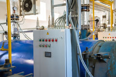 Place in a large industrial boiler room. Parts replaced during r Royalty Free Stock Photo