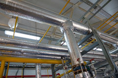 Place in a large industrial boiler room. Royalty Free Stock Photos