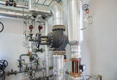 Place in a large industrial boiler room. Stock Photo