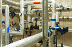 Place in a large industrial boiler room. Royalty Free Stock Images