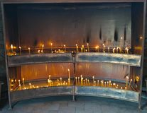 Place for lightning candles in monastery, serbia Stock Photography