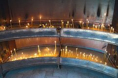 Place for lightning candles in monastery, serbia Royalty Free Stock Images