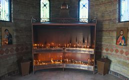 Place for lightning candles in monastery, serbia Stock Photo