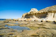 Salt pans malta gozo island. Place like from star wars Royalty Free Stock Image