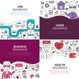 Place linéaire d'icônes de conception de l'assurance 4 Images stock