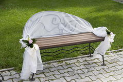 Place for in love. A bench in park for in love Royalty Free Stock Image