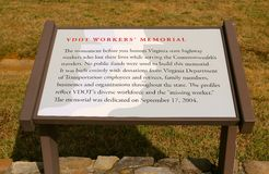 Place Marker at The Virginia Highway Workers Memorial Royalty Free Stock Photos