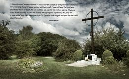 The place of mass grave in the former German concentration camp Plaszow, Poland. Dramatic atmosphere above Hujowa Gorka in the former German concentration camp royalty free stock photos
