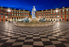 Place Massena and Fountain du Soleil at Dawn, Nice. France stock image