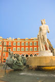 Place Massena in Nice. With the Fontaine du Soleil and the Apollo statue royalty free stock photos