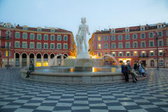 Place Massena, Nice. Place Massena in Nice with the Fontaine du Soleil and the Apollo statue royalty free stock photography