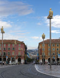 Place Massena,Nice, France with sculptures by Jaume Plensa Royalty Free Stock Photos