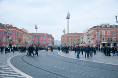 Place Massena in Nice during a winter day Stock Image