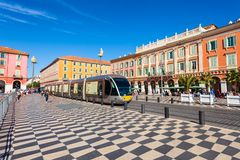 Place Massena square in Nice. NICE, FRANCE - SEPTEMBER 27, 2018: Place Massena square in Nice city, Cote d\'Azur region in France royalty free stock images