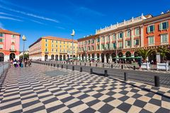 Place Massena square in Nice. NICE, FRANCE - SEPTEMBER 27, 2018: Place Massena square in Nice city, Cote d\'Azur region in France stock image
