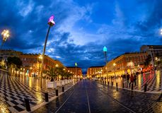 Place Massena square, night scene in Nice stock photo