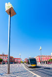 Place Massena with statues on columns in Nice, France. Royalty Free Stock Photo