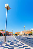 Place Massena with statues on columns in Nice, France. Royalty Free Stock Images