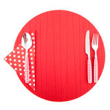 Place mat with red cutlery Stock Image
