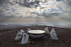 Place for meditation in the Negev dessert Stock Photos