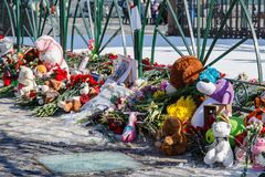 Place of memory of victims of the fire in the city of Kemerovo. Place of memory of victims of the fire in the city of Kemerovo - Palace Square, ST PETERSBURG Stock Photo