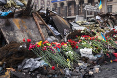 Place the memory of those who were killed on Euromaidan Stock Photo