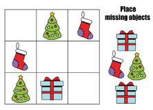 Place missing objects in grid. Kids activity sheet. Logic educational game. For children. Christmas theme royalty free illustration